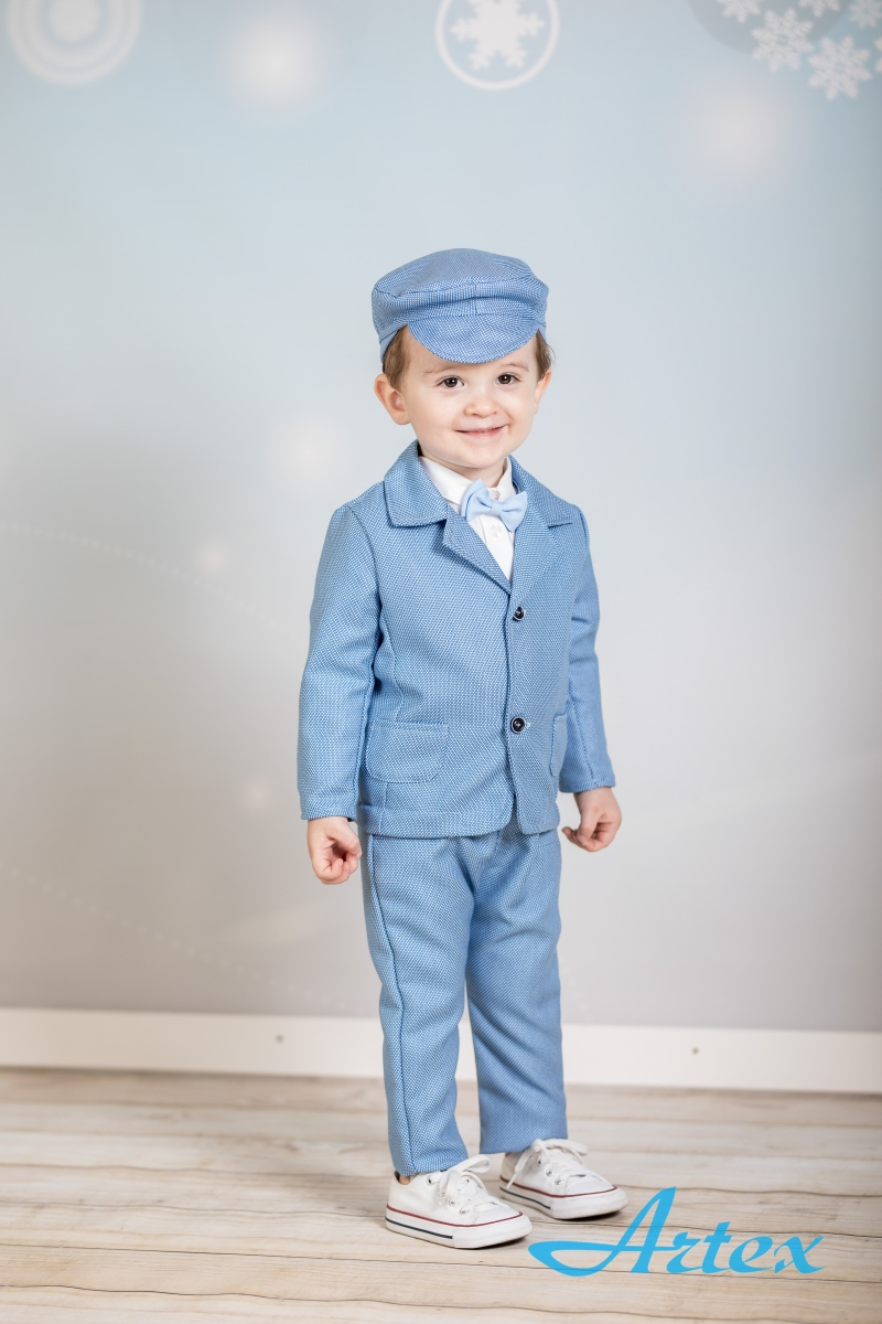 Garnitur jasnoniebieski, dla chłopca na chrzest, mucha