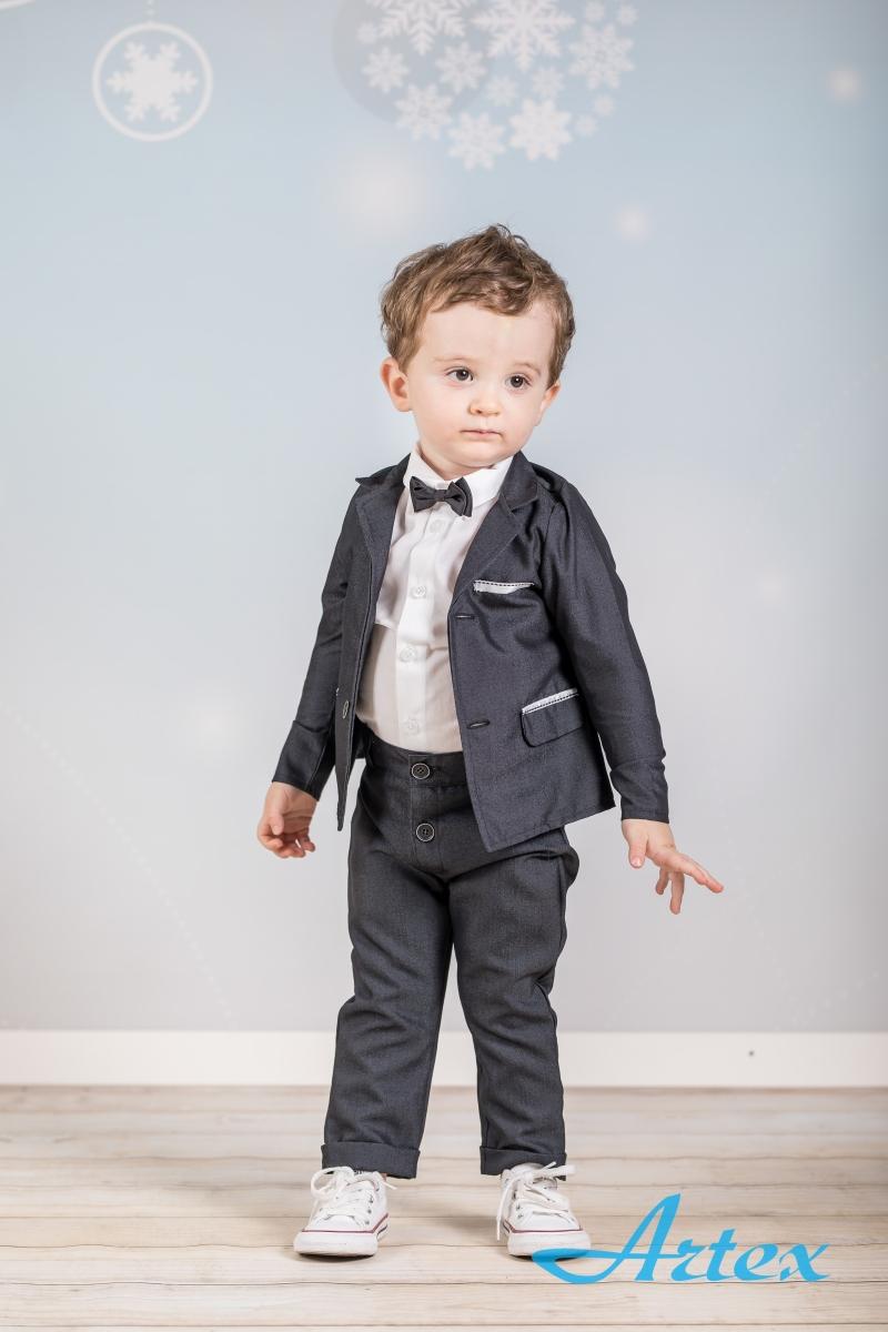 Garnitur dla chłopca na chrzest: spodnie, marynarka, koszula, mucha