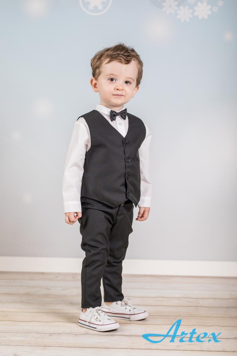 Komplet do chrztu dla chłopca: spodnie, koszula, kamizelka, mucha