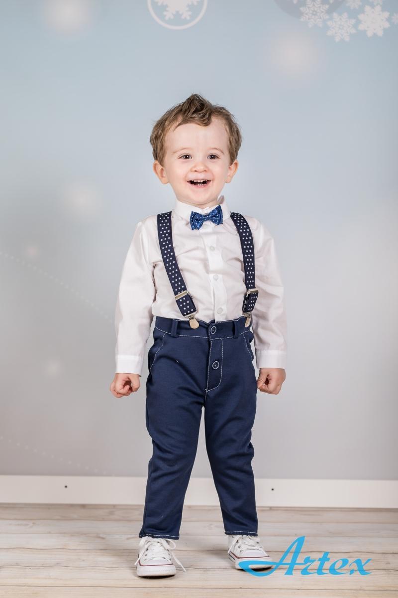 Komplet do chrztu dla chłopca: spodnie, koszula, szelki, mucha