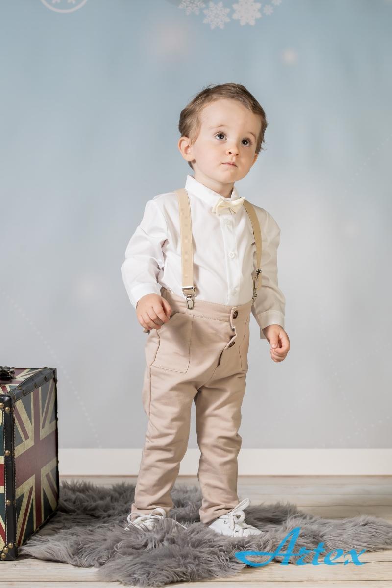 Komplet do chrztu dla chłopca: spodnie, koszula, szelki
