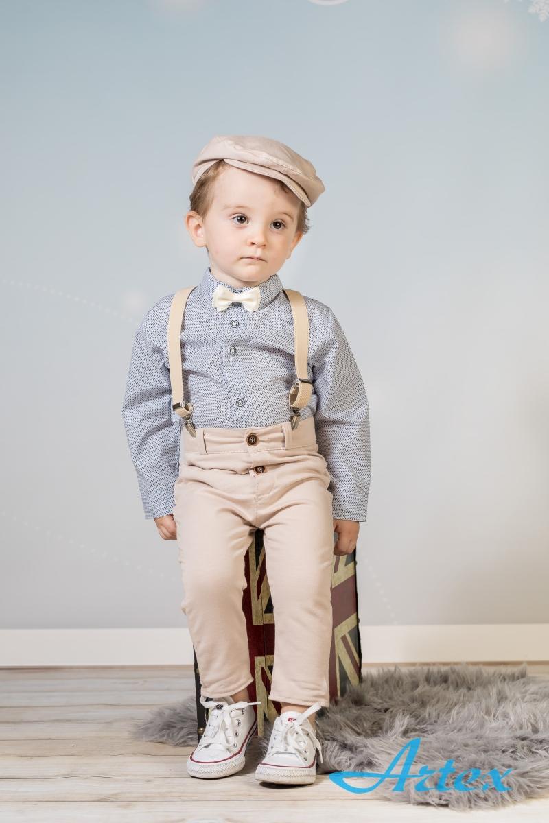 Komplet do chrztu dla chłopca: spodnie, koszula, szelki, mucha, kaszkiet