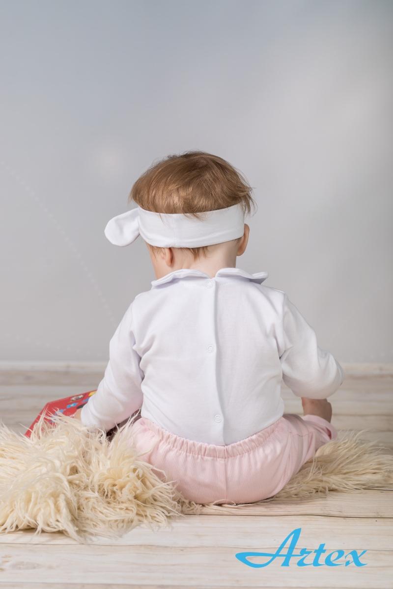 Komplet sztruksowy do chrztu dla dziewczynki, biało-różowy, z opaską