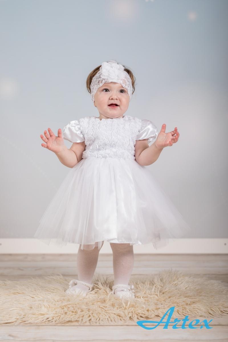 Sukienka do chrztu, biała, z opaską