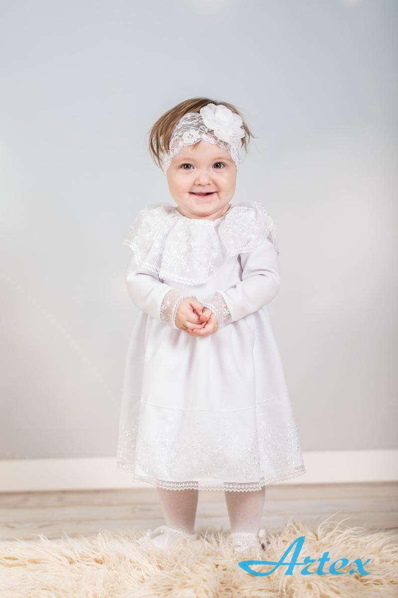Sukienka koronkowa do chrztu, hiszpanka, biała, z opaską