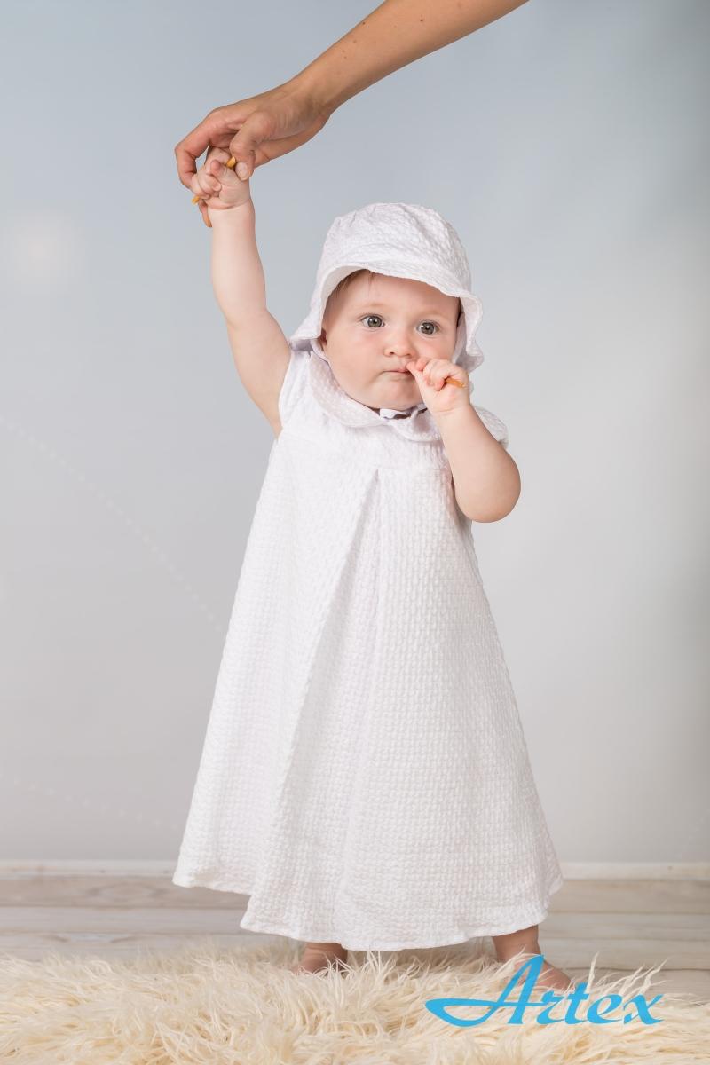 Sukienka V do chrztu, biała, z kapelusikiem