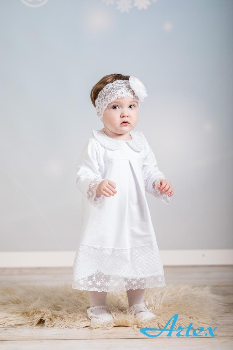 Sukienka V do chrztu, biała, koronkowa, z opaską
