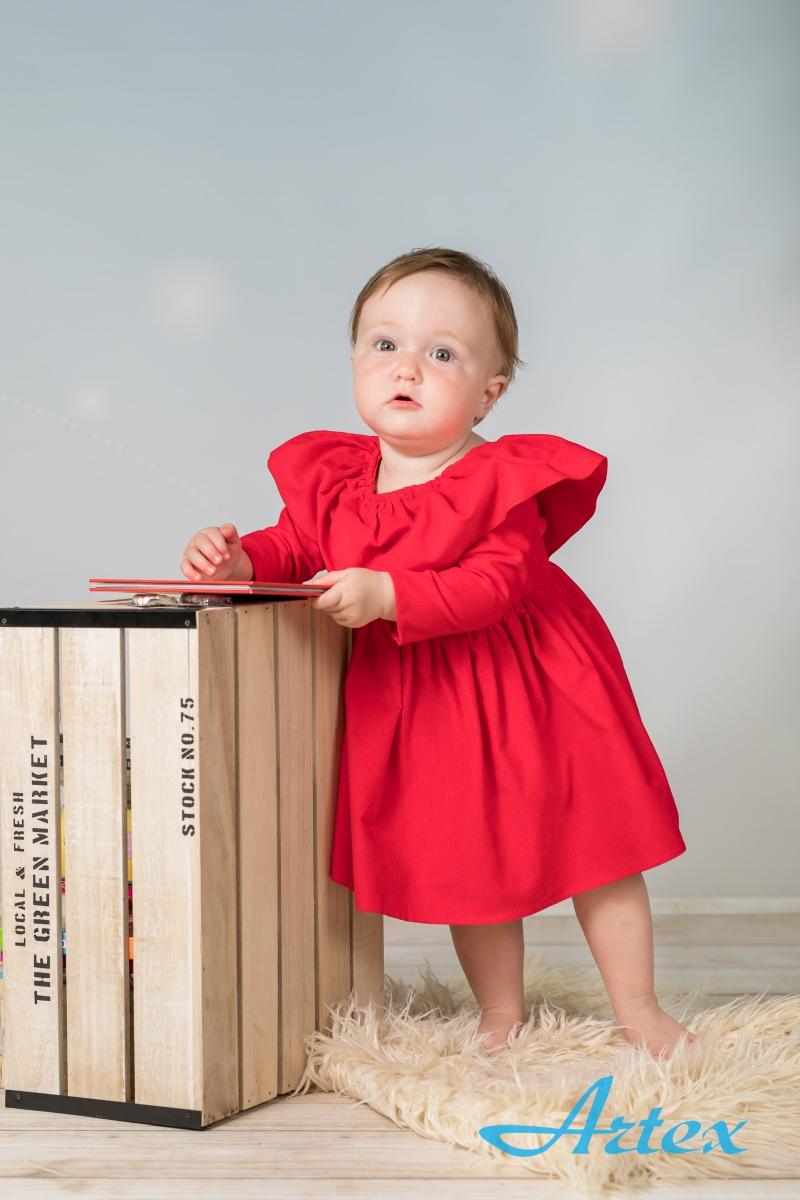 Sukienka do chrztu, czerwona, hiszpanka